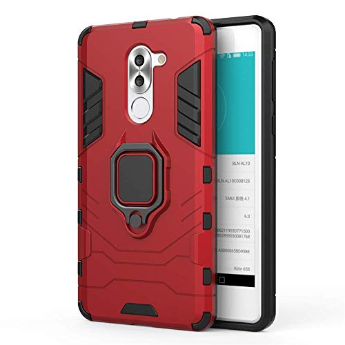 CHcase Huawei Honor 6X Hülle, 2in1 TPU+PC Schutzhülle Rugged Armor Car Mount Hülle Cover Dual Layer Bumper Backcover mit Ständer für Huawei Honor 6X (2017) / GR5 2017 / Huawei Mate 9 Lite -Red