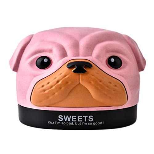TOPBATHY Caja de pañuelos con diseño de dibujos animados Bobby para perro, con soporte de fibra de trigo y pañuelos, organizador para habitación infantil, coche, baño, dormitorio, escritorio (rosa)