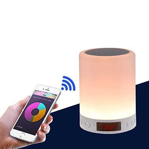 Lámpara de noche con altavoz Bluetooth y recargable, intensidad regulable con 7 colores LED, ideal como regalo para mujeres, hombres, niños, dormitorio