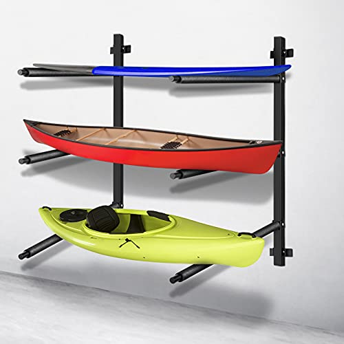 VEVOR Kayak Storage Kayak Wall Rack, Heavy-Duty Kayak Hooks, 300 LBS Load-Bearing Capacity Kayak Hanger for Indoor Use, 100 LBS Per Layer Paddle Board Rack, 3 Layers Kayak Storage Rack for 3 Canoes