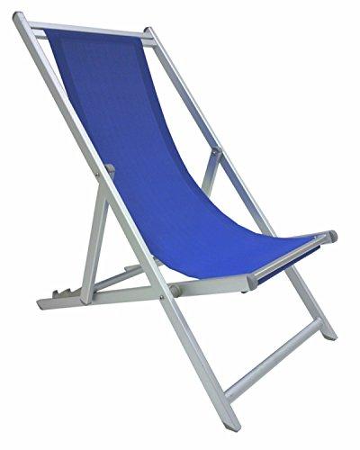 Savino Fiorenzo Sedia Sdraio Pieghevole Prendisole Blu Alluminio antiruggine per Mare Campeggio Spiaggia stabilimento Piscina Giardino