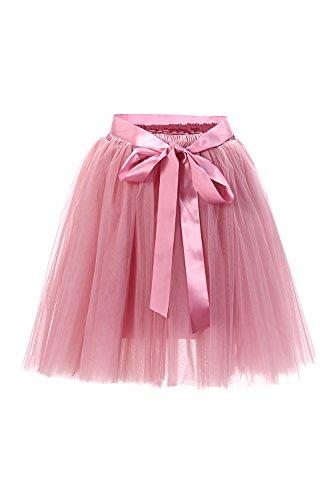 Babyonline® Damen Prinzessin Falten Rock Vintage Kleid Spitzen Rock Midirock Ballettrock Tüllrock Unterrock Knielang, Altrosa, One Size / Einheitsgröße