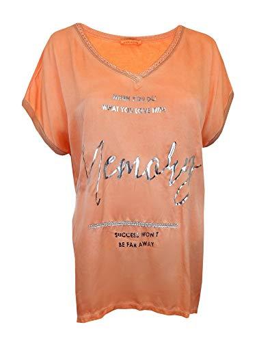 Ella Jonte T-Shirt 40 42 Größe M orange Silber Viskose Seide Vintage Made in Italy