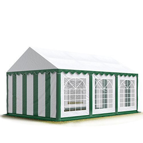 TOOLPORT Party-Zelt Festzelt 3x6 m Garten-Pavillon -Zelt 500g/m² PVC Plane in grün-weiß Wasserdicht