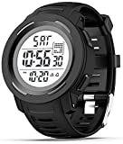Mens Digital Sport Watches Military Watches for Men Waterproof Stopwatch Alarm Wrist Army Watch, Black