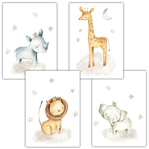 Frechdax® 4er Set Kinderzimmer Babyzimmer Poster Bilder DIN A4   Mädchen Junge Deko   Dekoration Kinderzimmer   Waldtiere Safari Skandinavisch (4er Set Nashorn, Giraffe, Elefant, Löwe)