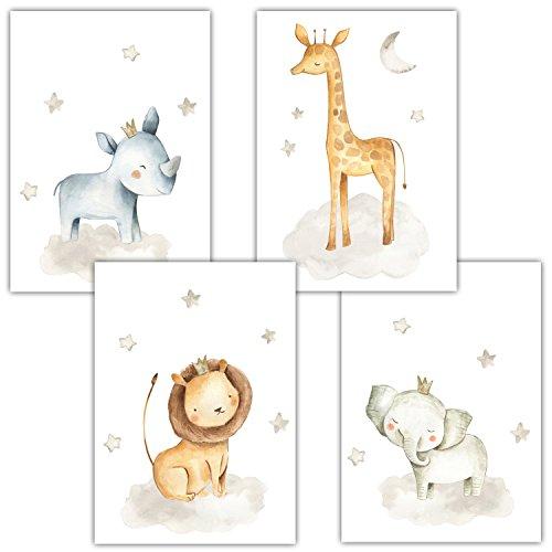 Frechdax® 4er Set Kinderzimmer Babyzimmer Poster Bilder DIN A4 | Mädchen Junge Deko | Dekoration Kinderzimmer | Waldtiere Safari Skandinavisch (4er Set Nashorn, Giraffe, Elefant, Löwe)