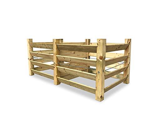 GartenDepot24 ECO Doppel-Komposter Brettkomposter aus Holz 188x100x80 cm - ca. 1300 L