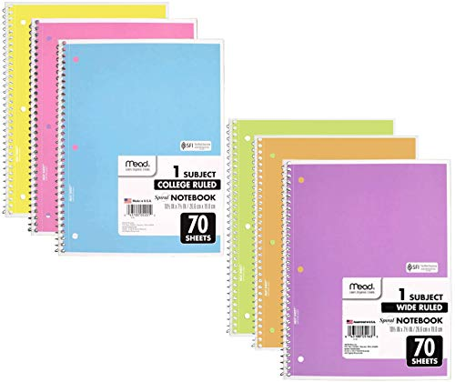 Mead School Notebooks 6 Pack Spiral Notebooks Pastel Color 3 COLLEGE RULED and 3 WIDE RULED Spiral Bound Notebooks 1subject 70 Pages Cute Notebook For School Home and Office