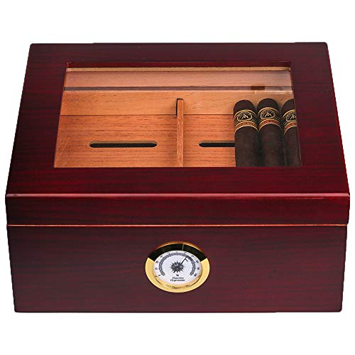 Mantello Glass Top Handcrafted Cigar Humidor - Holds (25-50 Cigars) - Spanish Cedar Cigar Box with Humidifier, Hygrometer and Adjustable Cigar Tray