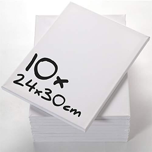 Art-Star 10er Pack günstige LEINWÄNDE zum MALEN 24x30cm | blanko Keilrahmen, bespannte Keilrahmen, Leinwand auf Keilrahmen für Acrylfarben, rechteckige Keilrahmen mit Leinwand