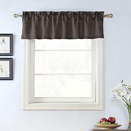 Rama Rose Burlap Valance Rod Pocket Faxu Linen Kitchen Window Curtain Valance Rustic Home Decor 56 by 16 Inches, Brown