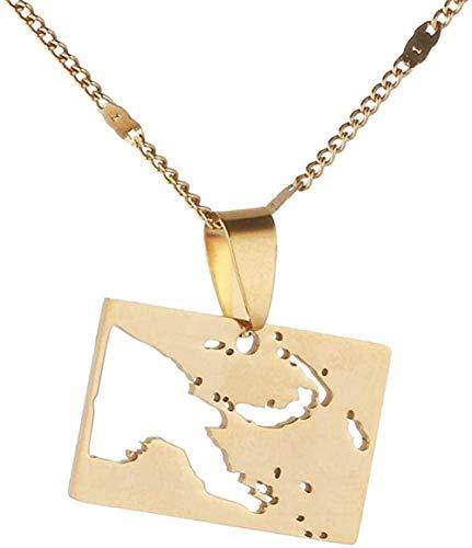 banbeitaotao Collar de Acero Inoxidable Papua Guinea Mapa Collares Pendientes Mapas de Color Dorado Cadena de joyería