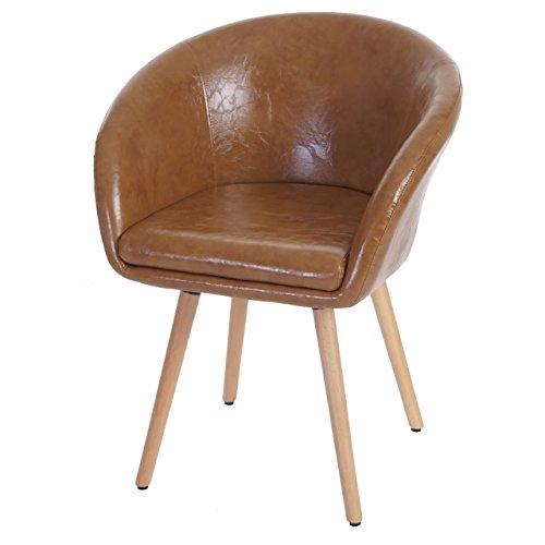 Chaise de Salle à Manger Malmö T633, Fauteuil, Design rétro des années 50 - Similicuir, Aspect Daim