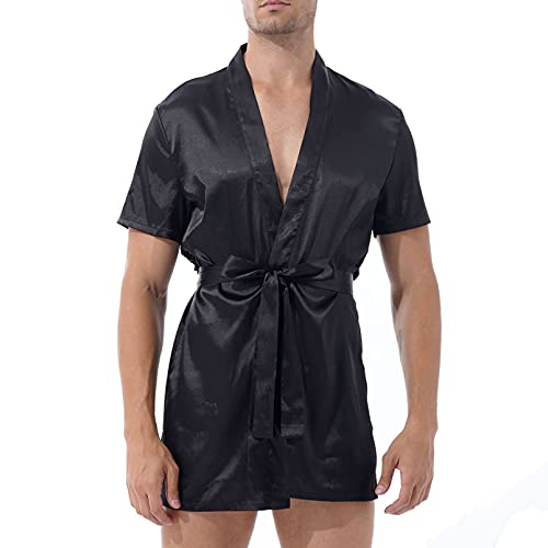 dPois Herren Bademantel Kurz Lang Satin Morgenmantel Pyjama Kimono Robe mit Gürtel Kurzarm Sexy Nachthemd Sommer Nachtwäsche Sleepwear Schwarz M
