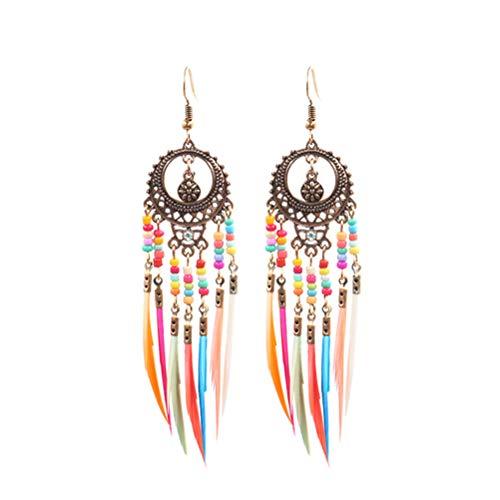 Mujeres bohemio con cuentas borla pendientes de plumas largos pendientes de gota pendientes para mujeres niñas