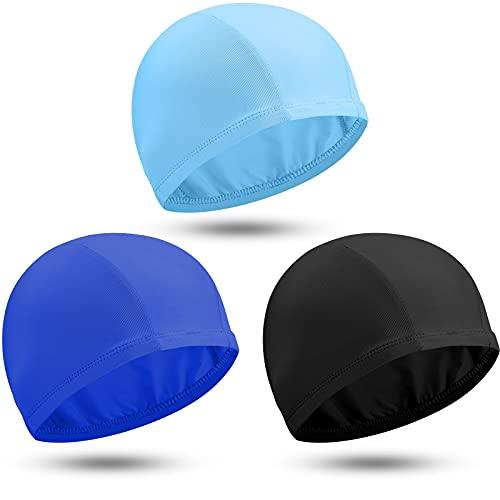 3 Gorros de Natación de Color Sólido Sombrero de Natación de Tela de Nailon Gorro de Baño Unisex Gorro Antideslizante para Piscina para Cabello Largo y Corto (Negro, Azul, Azul Cielo)