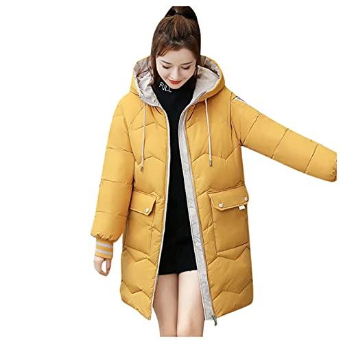 URIBAKY - Abrigo de mujer largo acolchado de ante con bolsillo para exteriores chaquetas, forro polar cálido de algodón, con capucha desmontable, amarillo, S