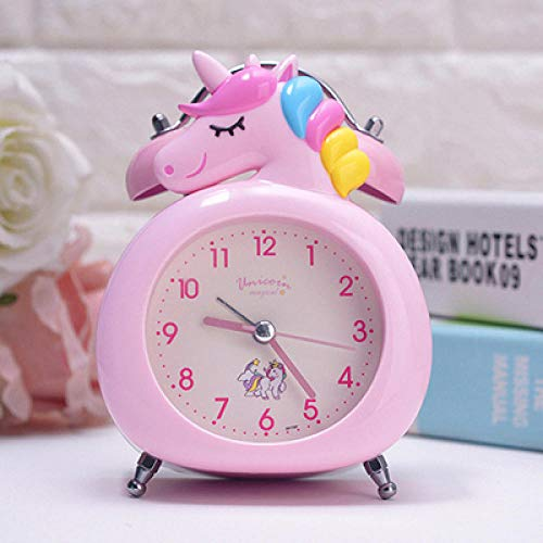 FPRW Leuke cartoon ring alarm klok, Creative Children Kawaii Unicorn metalen tafel klok mute Night Light Nightside Clock, Pink