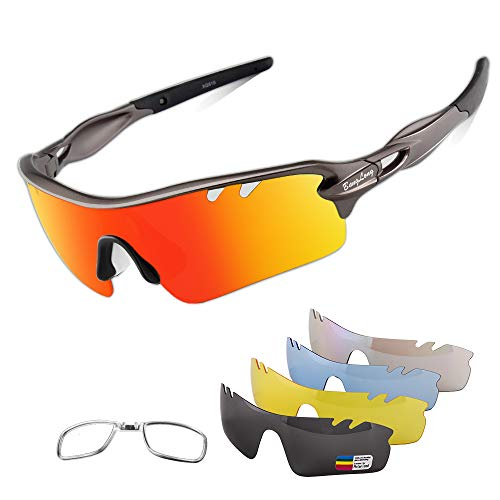 Polarized Sports Sunglasses Cycling Sun Glasses for Men Women with 5 Interchangeable Lenses for Running Baseball Golf Driving