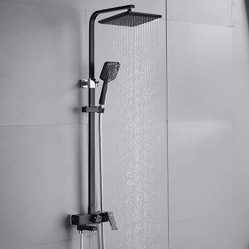 Auralum 3 Funktionen Duschsystem Duschkopf, Schwarz Duschset 25 x 25 cm Regendusche inkl. Kopfbrause, Handbrause, verstellbarer Duschstange
