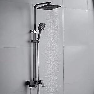 AuraLum Set de ducha negro grifo monomando de ducha Sistema de ducha de 3 funciones con grifo de ducha cabezales de ducha set de ducha, tubo de ducha ajustable de 90 a 130 cm