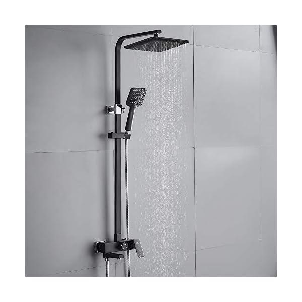 AuraLum Set de ducha negro grifo monomando de ducha Sistema de ducha de 3 funciones con grifo de ducha cabezales de…