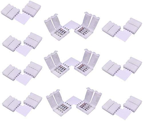 LitaElek L- Form Schnellverbinder LED Eckverbinder LED Strip Connector L Verbinder RGB 5050 LED Lichtstreifen Steckverbinder, 10mm Eckverbinder (10 Stück)