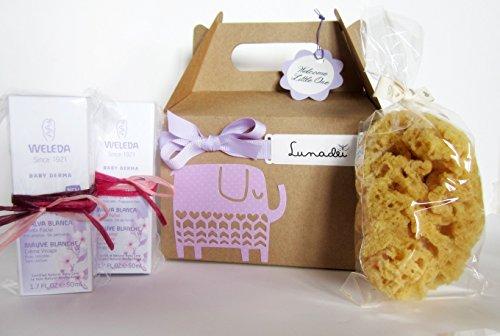 Regalo per Nascita con due Creme Weleda alla Malva Bianca e una Spugna Naturale | Baby Shower Gift Idea | Versione Unisex