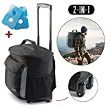 Lovotex Insulated Rolling Cooler Backpack with Wheels Roller Bag, Insulated Leak Proof, Roller Backpack Lunch Bag for Men and Women, Camping, Picnics, Hiking, Insulated Roller Bag - Fits 40 Cans