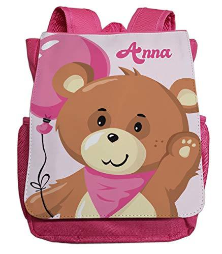 Kleiner Rucksack für Kindergarten mit Namen | Motiv Teddy-bär & Luftballon | viele Fächer Brustgurt Kinderrucksack inkl. Wunschname | ideal für Kita- und Kindergartenkinder von 2-5 Jahre (pink)