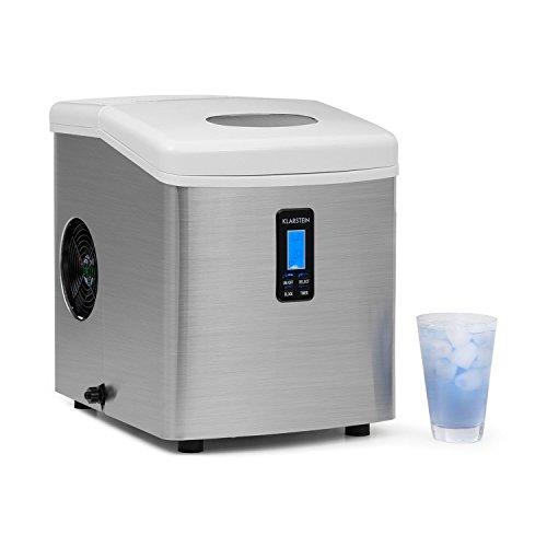 Klarstein Mr. Silver-Frost - Eismaschine, Eiswürfelmaschine, Eiswürfelbereiter, 15 kg/Tag, 150 Watt, 3 Würfelgrößen, Timer, Edelstahl, silber-weiß
