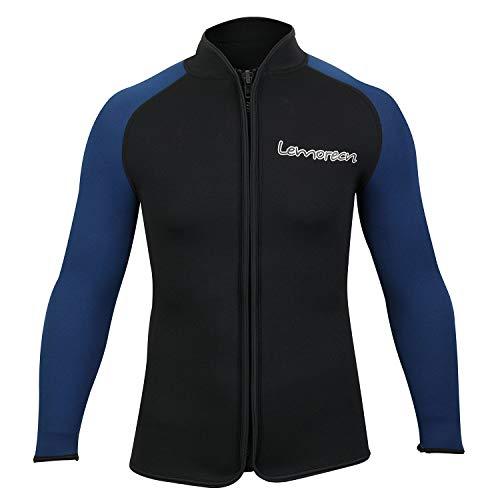 Lemorecn Adult's 3mm Wetsuits Jacket Long Sleeve Neoprene Wetsuits Top (2031blackblueL)