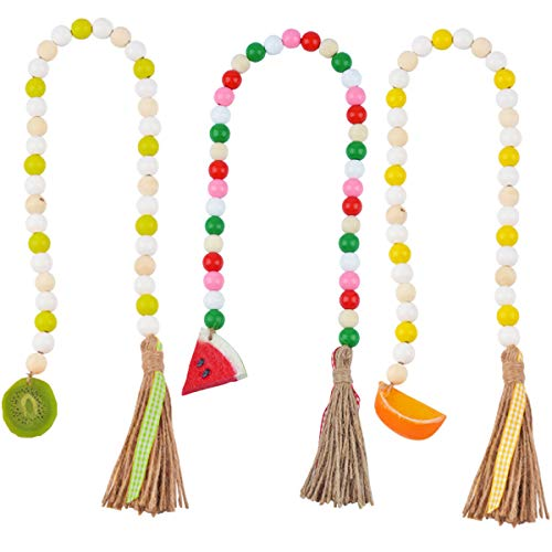 3 Pieces Fruit Wood Bead Garland with Tassel, Watermelon Orange Kiwi Rustic Farmhouse Bead with Jute Tassel, Summer Country Style Boho Wall Hanging Prayer Bead Home Tiered Tray Decoration