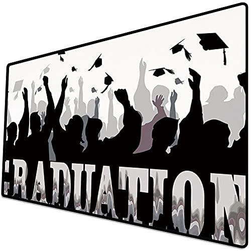 Alfombrilla de ratón (800x400x3 mm) Decoración de graduación, celebración de la Academia, Siluetas de Estudiantes, Gorras de Graduado Superficie Suave y cómoda de la Alfombrilla de ratón para Juegos