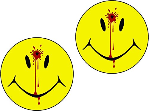 LPF USA Magnet 2-5' Set Smiley Face Dead Decal Head Shot Bullet Hole Guns Magnetic Sticker Decal Blood