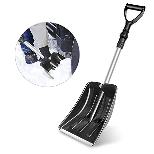 MATELOTI Snow Shovel with D-Grip Handle and Durable Aluminum Edge Blade (Black)