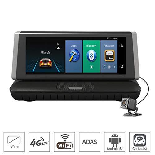 SZKJ E02 20,3 cm (8 Zoll) Touch 4G Android Dashcam WiFi GPS Full HD 1080P Auto Mittelkonsole Armaturenbrett Video Recorder Dual Lens Registrar Dash Cam ROM 16 GB ADAS Auto DVR Kamera
