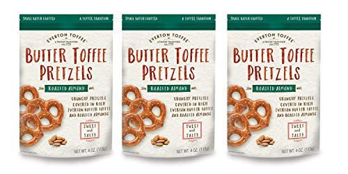 Everton Toffee Butter Toffee Pretzels, Roasted Almond Flavor (4 oz. bag, 3-pack), Gourmet Artisan Toffee Covered Pretzels, Sweet and Salty Mini Pretzel Snacks, Small Batch Crafted