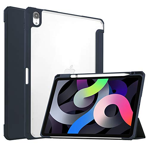 Case for iPad Air 10.9 (2020) - Tri-fold Back Cover - Transparent - Blue