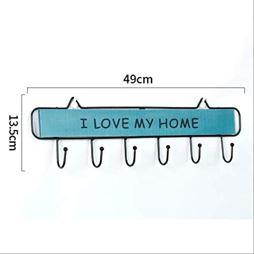 FHFF Haken, zelfklevend, ijzer om te strijken van hout, deur, wandmontage, organizer, ingang, hal, badkamer, slaapkamer, blauw, 6 draden