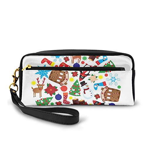 Pencil Case Pen Bag Pouch Stationary,Traditional Noel Symbols Theme With Pine Tree Snowman Penguin Socks And Reindeer,Small Makeup Bag Coin Purse