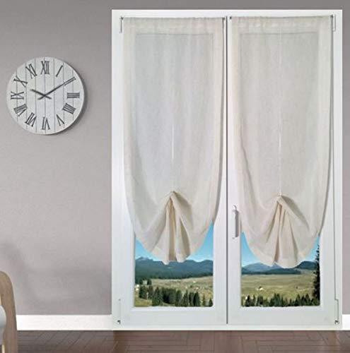 Coppia Tende a Pacchetto Tendine Regolabili per Finestra e Porta a Vetro larghezza 45 - 65 - 90 - Colore Lino (65x240 cm)