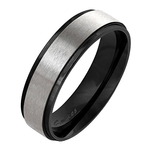 Paula & Fritz gebürsteter Edelstahlring Damen-ring Verlobungs-ring Freundschaftsring Herrenring Partnerring Stepped Edge schwarz 53 (17)