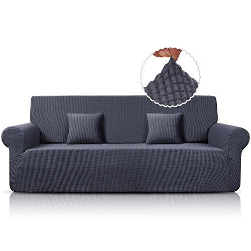 Sofa Überwürfe Jacquard Sofabezug Elastische Stretch Spandex Couchbezug Sofahusse Sofa Abdeckung in Verschiedene Größe und Farbe (Grau, 4-sitzer)