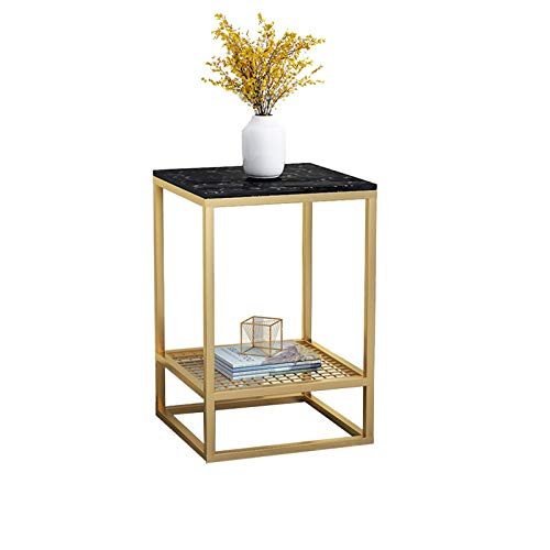 BZ-ZK Indoor Side Table, 2 Layer Storage Side Table White/black Marble Bedside Table Office Hotel Coffee Table Waterproof Antifouling Low Table(Color:B,Size:50 * 25 * 50CM)