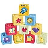 Royalr 10PCS/Set Baby Blocks Toys Non-Toxic Soft Plastic Cartoon Cube Blocks Cartoon Cube Building Building Children Educational Soft Rubber Blocks