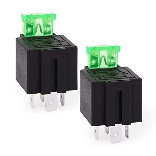 Ehdis 2 Piezas Relé para Coche 12V 30A 4 Pin, Fusible del relé de Encendido/Apagado Fusible Montaje zócalo de la Base unipolar Normalmente Abierto del Metal