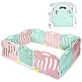 INFANS Baby Playpen, 10-Panel Kids Safety Playard w/ Non-Slip Foot Mats & Card Buckles, Safety Lock, HDPE, Adjustable Shape for Indoor Outdoor, Infant & Toddler Fence (Green & Pink)