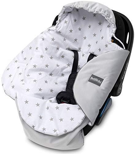 Bellochi Universal Baby Einschlagdecke für Babyschale und Autositz Kinderwagendecke Fußsäck aus Baumwolle und Samt z.B. passend für Maxi-Cosi, Römer, Cybex - Graue Sterne